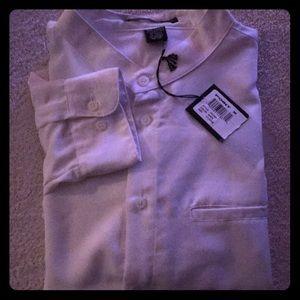 NWT White Collarless Dress Shirt XL